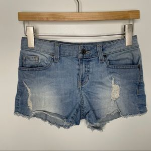 GUESS light blue ripped jean shorts
